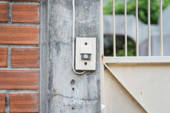 The Doorbell side on wall Stock Photos