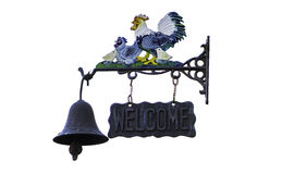 Doorbell welcome. Chicken symbol bell isolate in WhiteBackground Stock Photography