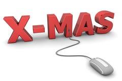Doorblader Rode Kerstmis - Grijze Muis Royalty-vrije Stock Foto