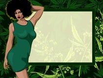 Doorbladert het ontwerp vectormalplaatje met sexy dame en cannabis royalty-vrije illustratie