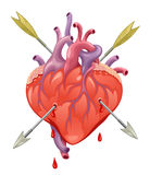 Doordrongen hart royalty-vrije illustratie