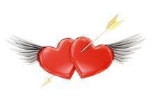 Doordrongen hart met vleugels op een witte achtergrond het 3d teruggeven Stock Foto's