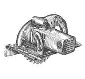 Doorgevend het ontwerpmalplaatje van het zaag vectorembleem Hulpmiddelen Stock Fotografie