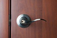 Doorhandle. Front door with metal handle. Doorhandle. door handle Stock Photo