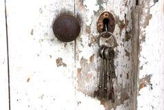 Doorknob и пук ключей в двери сарая шелушения стоковое фото rf