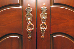 Doorknob. Two doorknobs on the cabinet Stock Photo