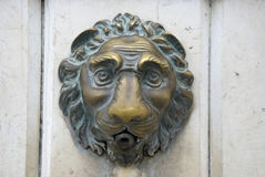 Doorknob - metallic lion of venice, italy Royalty Free Stock Photo