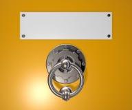 Doorknocker. Metal doorknocker and blank white sign - 3d illustration Stock Photos