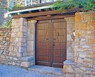 Doorknocker on allwood door Royalty Free Stock Photo