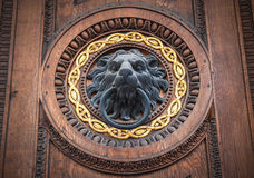 Doorknocker with head of lion royalty free stock photo