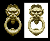 Doorknocker isolate in  black and white background Royalty Free Stock Photography