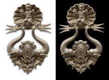 Doorknocker isolated in whithe and black Royalty Free Stock Photos