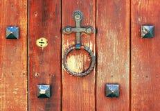 Doorknocker y ojo de la cerradura Fotografía de archivo
