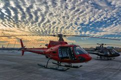 Doorless helicopter for aerial photography royalty free stock images