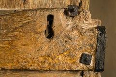 Doorlock stary drewniany drzwi Zdjęcia Stock