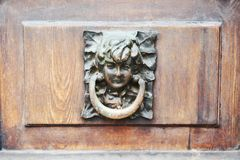 Doorlock on wooden door, concept, close up. Doorrlock vintage antique safety padlock on vintage wooden door, concept and safety background, close up stock photos