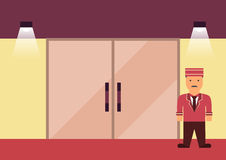 Doorman flat graphic Stock Images