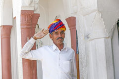 Doorman in front of a Hotel in Pushkar, Rajasthan Royalty Free Stock Photography