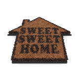 Doormat. 3d render of brown house shape coir doormat with text Sweet, sweet home isolated on white background royalty free illustration