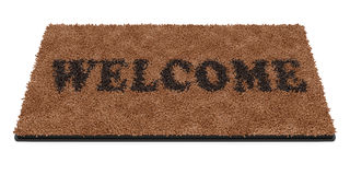 Doormat with text Welcome. 3d render of brown coir doormat with text Welcome isolated on white background stock illustration
