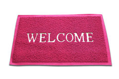 The doormat of welcome text on white background Royalty Free Stock Images