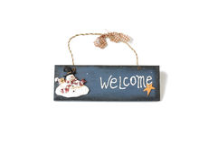 Doorplate with snowman Royalty Free Stock Photo
