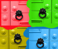 Doors. Abstract coloured doors in red, green, yellow and blue royalty free stock photo