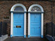 Doors. Blue color twin doors ireland Royalty Free Stock Images