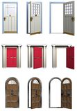 Doors. A sampling of three sets of doors in various states that could be cut apart for use in a project Royalty Free Stock Photos