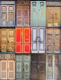 Doors. Different styles of antique doors urban homes Royalty Free Stock Image