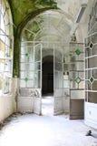Doors in abandoned psychiatric hospital. Hallway in abandoned psychiatric hospital Stock Image