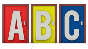 Doors ABC election. 3d Doors ABC election and white background Royalty Free Stock Image