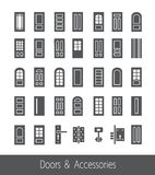 Doors and accessories. Line icon set Stock Photo