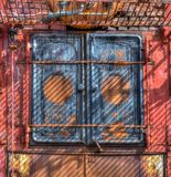 Doors of antique whaling boiler rusts from lack of use in Gryviken, South Georgia.jpg Royalty Free Stock Image