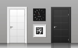 Doors black and white vector illustration