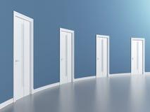 Doors in blue round room. 3d render Royalty Free Stock Photo