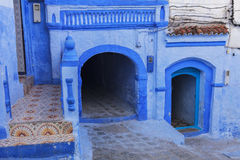 Doors and blue wall of chefchaouen Royalty Free Stock Images