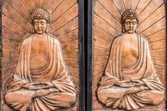 Doors buddha carving Soho Central Hong Kong Stock Image
