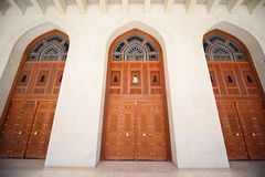 Doors of building inside Grand Mosque in Oman Stock Image