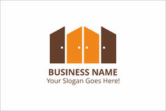 Doors Business Logo Template with Slogan with Orange and Chocolate Colors Royalty Free Stock Image