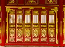 Doors carved Chinese Wat temple royalty free stock image