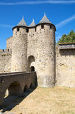 Doors of the Castle. Drawbridge and entry to the castle of the Cite of Carcassonne Stock Photo