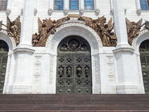 The doors of the Cathedral of Christ the Savior in Moscow. The newly erected Cathedral of Christ the Savior in Moscow, Russia. In July, 2014 stock images