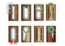 Doors with Christmas decorations. Royalty Free Stock Images