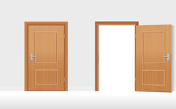 Doors Closed Open. Doors - Two wooden doors, one is closed, the second is open. Vector illustration Stock Images