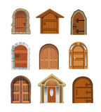 Doors collection. Vector illustration of modern and ancient doors isolated on a white background Royalty Free Stock Photo