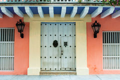 Doors of colonial building in Cartagena, Colombia Royalty Free Stock Images