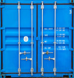 Doors of container. Container doors closed with a padlock on it Stock Images