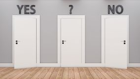 Doors of decision yes and no Royalty Free Stock Images