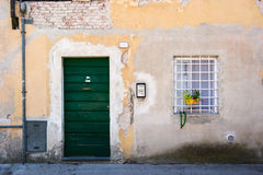 Doors detail from the medieval town Lucca. In italy Stock Photos